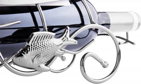 Suport pentru Sticla de Vin, model Pescar cu Barca, Metal Lucios, 39cm l29cm [6]