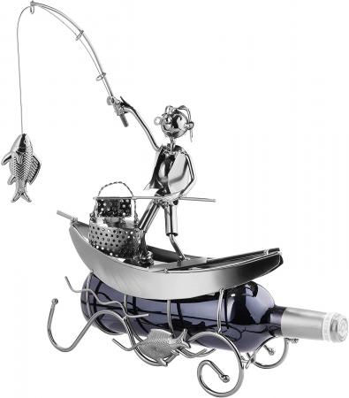 Suport pentru Sticla de Vin, model Pescar cu Barca, Metal Lucios, 39cm l29cm [9]