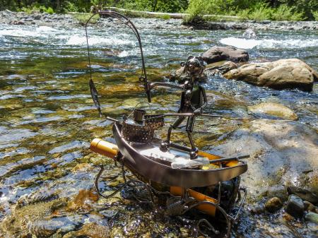 Suport pentru Sticla de Vin, model Pescar cu Barca, Metal Lucios, 39cm l29cm7