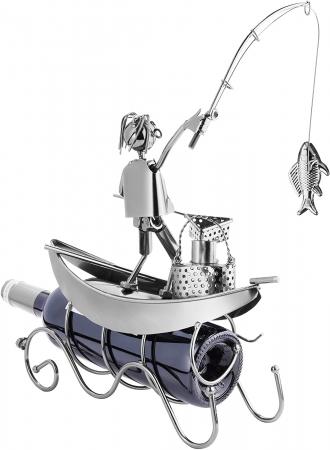 Suport pentru Sticla de Vin, model Pescar cu Barca, Metal Lucios, 39cm l29cm [4]