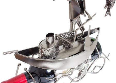 Suport pentru Sticla de Vin, model Pescar cu Barca, Metal Lucios, 39cm l29cm2