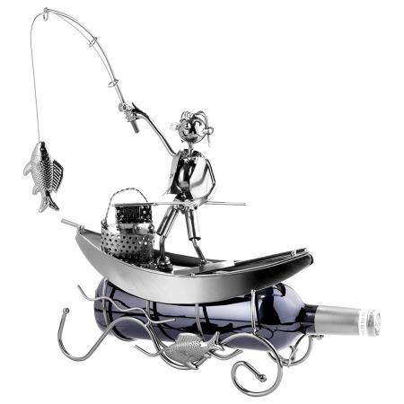 Suport pentru Sticla de Vin, model Pescar cu Barca, Metal Lucios, 39cm l29cm [1]
