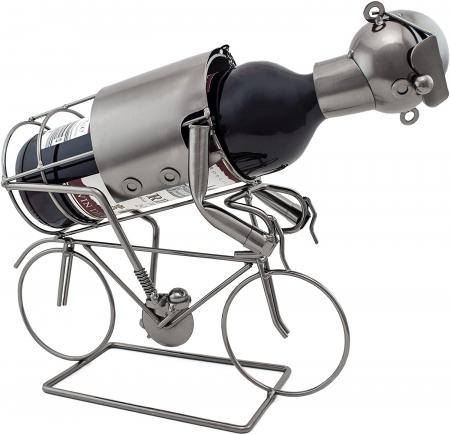 Suport pentru Sticla Vin, model Biciclist, Metal Lucios, Capacitate 1 Sticla, H 24.5 cm0