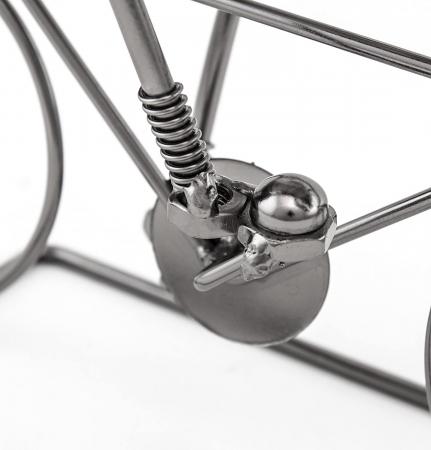 Suport pentru Sticla Vin, model Biciclist, Metal Lucios, Capacitate 1 Sticla, H 24.5 cm1