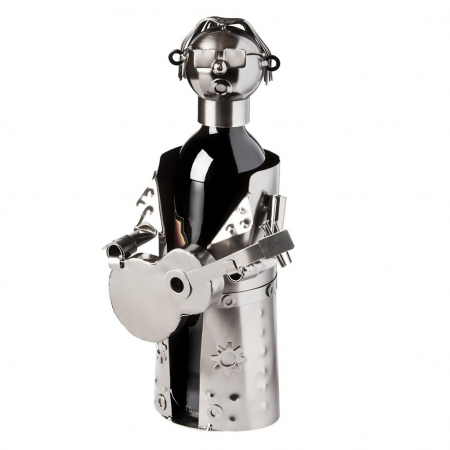 Suport sticle vin, metal cromat, model chitarist, capacitate 1 sticla, H32 cm [0]
