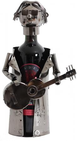 Suport sticle vin, metal cromat, model chitarist, capacitate 1 sticla, H32 cm [7]