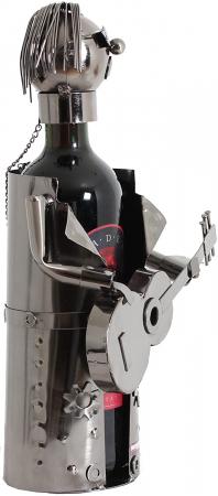 Suport sticle vin, metal cromat, model chitarist, capacitate 1 sticla, H32 cm [8]