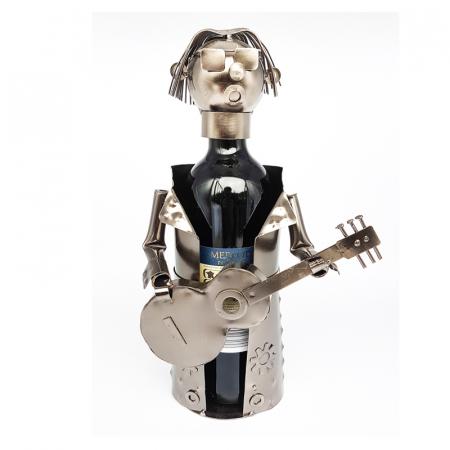 Suport pentru Sticla Vin, model Chitarist, Metal Lucios, Capacitate 1 Sticla, H 32 cm0