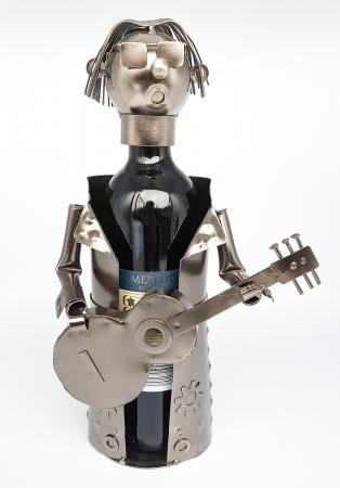 Suport pentru Sticla Vin, model Chitarist, Metal Lucios, Capacitate 1 Sticla, H 32 cm2