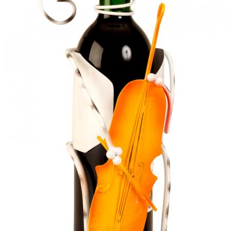 Suport pentru Sticla Vin, model Pisica, Metal Lucios, Capacitate 1 Sticla, H 36.5 cm [2]