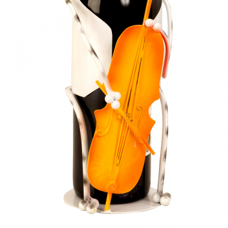 Suport pentru Sticla Vin, model Pisica, Metal Lucios, Capacitate 1 Sticla, H 36.5 cm [3]