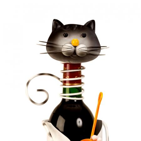 Suport pentru Sticla Vin, model Pisica, Metal Lucios, Capacitate 1 Sticla, H 36.5 cm [1]
