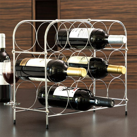 Suport pentru Sticle de Vin, din metal lucios, capacitate 12 Sticle Vin, 41.5x33.5x16 cm, G 0.9kg1