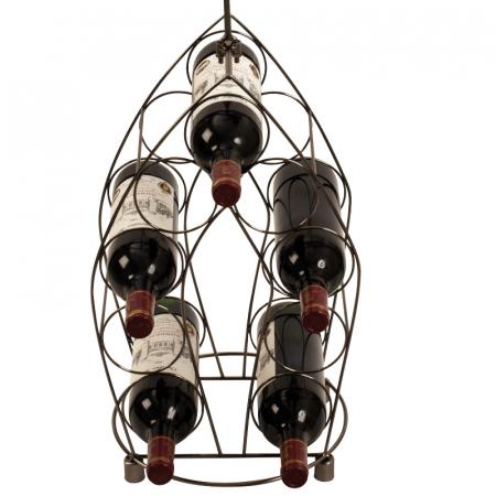 Suport pentru Sticle de Vin, model Ospatar, din metal Argintiu lucios, capacitate 9 Sticle de 0,75 ml, H 99 cm2