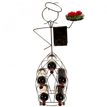 Suport pentru Sticle de Vin, model Ospatar, din metal Argintiu lucios, capacitate 9 Sticle de 0,75 ml, H 99 cm3