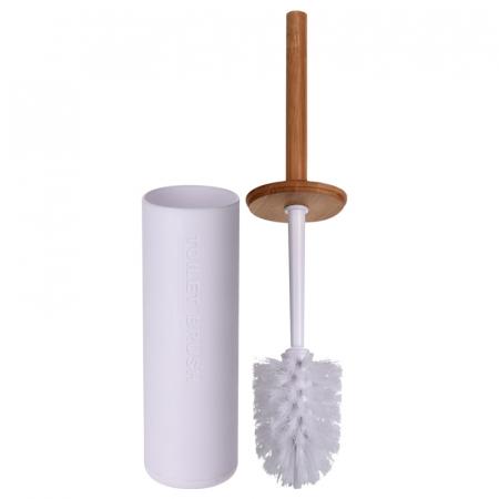 Perie WC cu Suport din plastic Alb, cu maner si capac din bambus Maro, 9 cm x H21.5 cm [0]