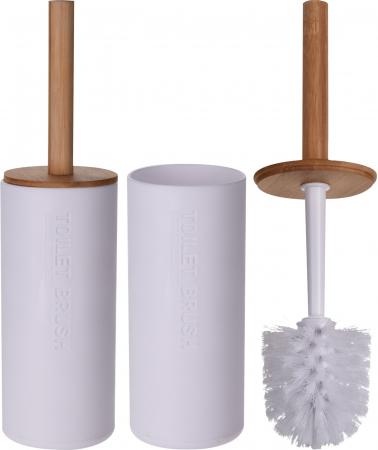 Perie WC cu Suport din plastic Alb, cu maner si capac din bambus Maro, 9 cm x H21.5 cm [9]