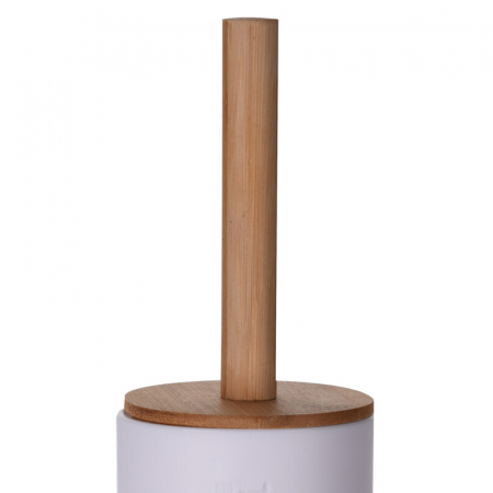 Perie WC cu Suport din plastic Alb, cu maner si capac din bambus Maro, 9 cm x H21.5 cm [4]