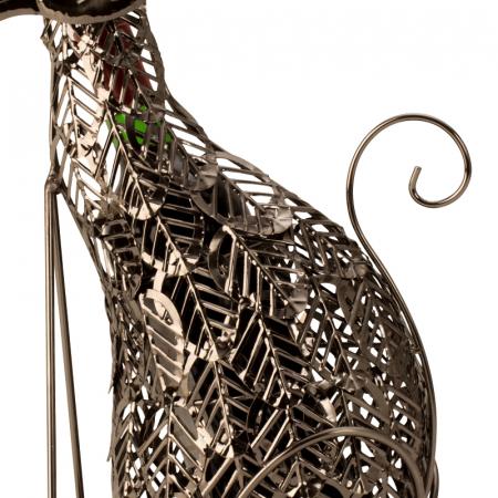 Suport Sticla de Vin, din Metal, model Pisica, 41 cm3