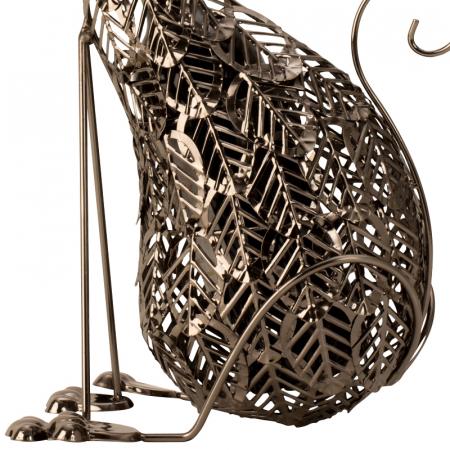 Suport Sticla de Vin, din Metal, model Pisica, 41 cm4