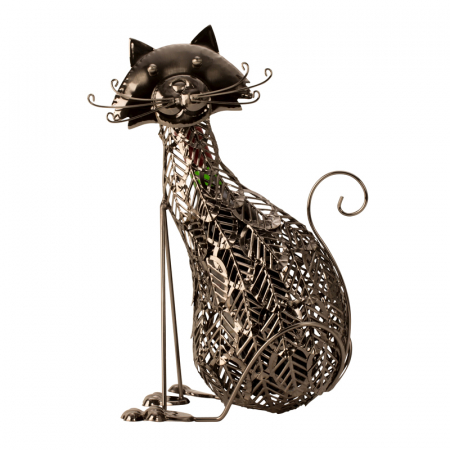 Suport Sticla de Vin, din Metal, model Pisica, 41 cm5