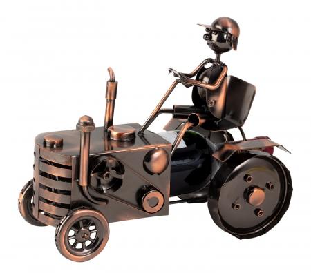 Suport sticla vin din metal, model tractor , culoare cupru h25cm l 29 cm [0]