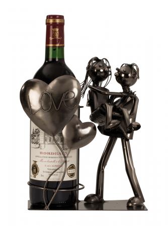 Suport din Metal pentru Sticla de Vin, model Cuplu de Indragostiti, cu Inimii Love, Argintiu/Negru, capacitate 1 Sticla, H 24cm, L19 cm2
