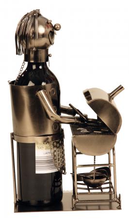 Suport din Metal pentru Sticla de Vin, model Grataragiu, Argintiu/Negru, capacitate 1 Sticla, H 34 cm2