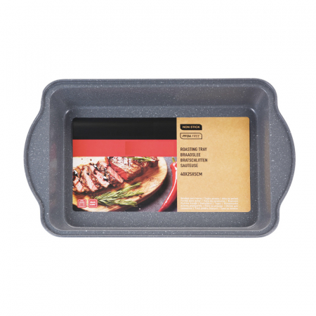 Tava de copt pentru cuptor, NAGO, Tava de gatit termorezistenta, forma rectangulara, strat antiaderent, cu manere, 40 x 25 x 5 cm, 365 g, Gri carbune2