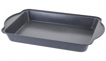 Tava de copt pentru cuptor, NAGO, Tava de gatit termorezistenta, forma rectangulara, strat antiaderent, cu manere, 40 x 25 x 5 cm, 365 g, Gri carbune [5]
