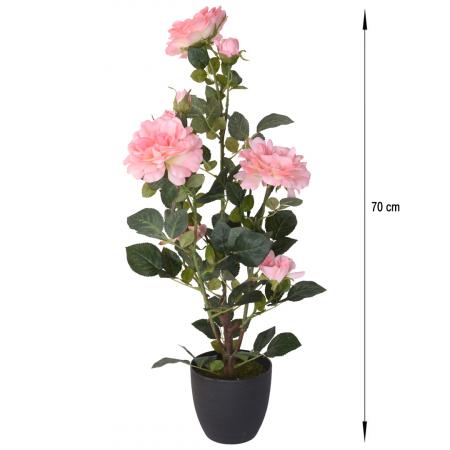 Trandafir artificial, Roz, in ghiveci, inaltime 70 cm [1]