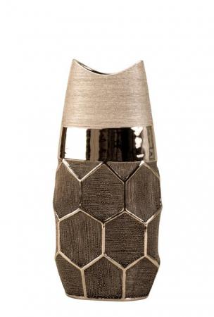 Vaza argintie 28 cm cu model fagure [4]