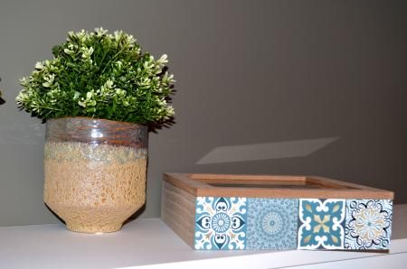 Vaza ceramica, culoarea Bej perlat, 17cm x 17cm3