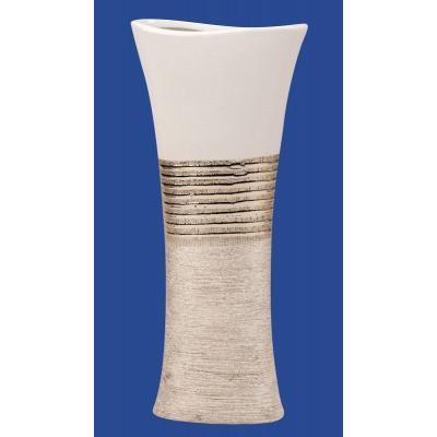 Vaza Ceramica, eleganta si moderna, Ovala, Argintiu cu Alb, 43 cm2