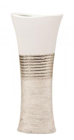 Vaza Ceramica, eleganta si moderna, Ovala, Argintiu cu Alb, 43 cm4