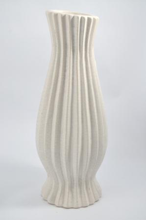 Vaza ceramica, brazde de teracota, 36 cm, Alb [1]