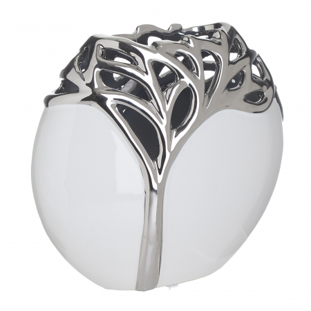 Vaza ceramica cu model copac culoare argintie 20Χ9Χ18 cm1