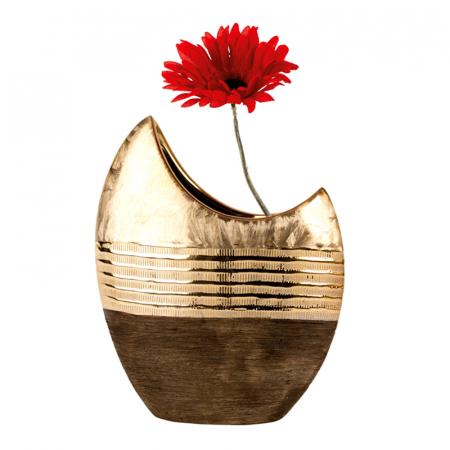 Vaza ceramica, forma de luna, maro cu auriu, 23 cm2