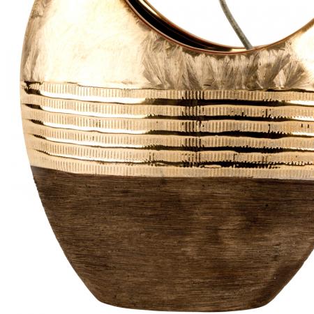 Vaza ceramica, forma de luna, maro cu auriu, 23 cm4
