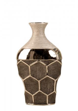Vaza ceramica gat ingust model fagure culoare argintiu  29.5x17.5 cm1