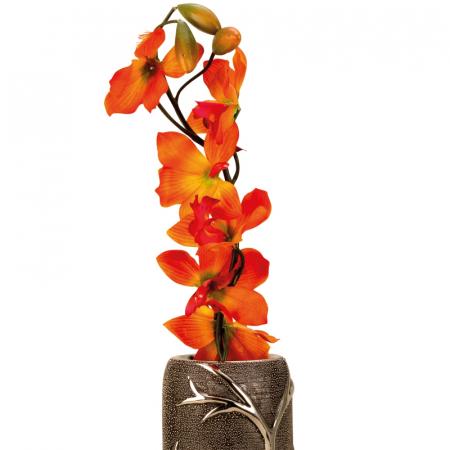 Vaza ceramica gofrata, cu nervuri, culoare Argintie/Negru, 30.5x10 cm2