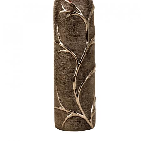 Vaza ceramica gofrata, cu nervuri, culoare Argintie/Negru, 30.5x10 cm6
