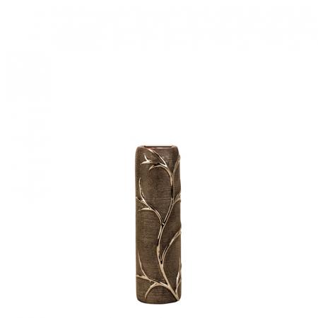 Vaza ceramica gofrata, cu nervuri, culoare Argintie/Negru, 30.5x10 cm4