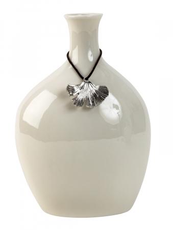 Vaza Portelan, cu decor frunza metal, Alba,19,5x13 cm0