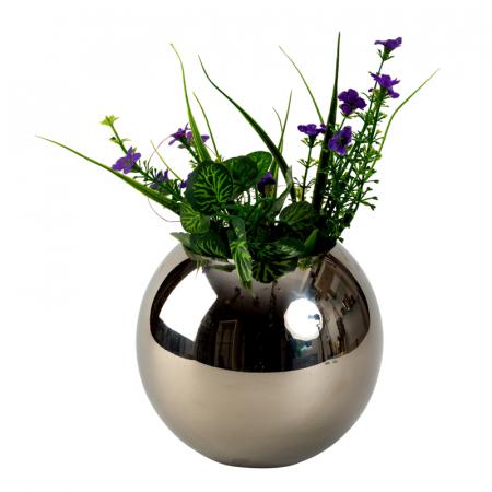Vaza sfera din otel inoxidabil diametru 15 cm1