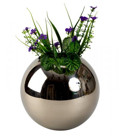 Vaza din Otel, Sferica, Argintie, 18 cm0