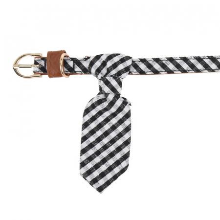 Zgarda pentru Caine Alba cu Romburi si Cravata, talie mica si medie0