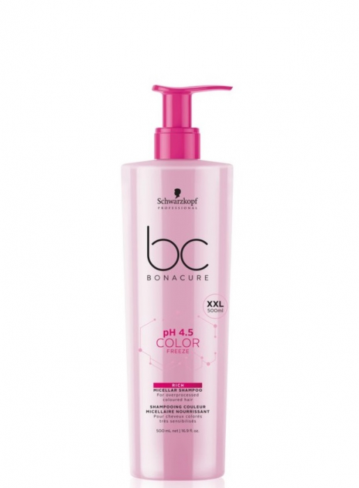 Sampon micelar pentru par vopsit Schwarzkopf, Bonacure pH 4.5 Color Freeze Micellar Cleansing Conditioner 500ml 0