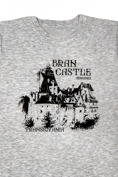 Tricou cu imprimeu Castelul Bran, nuanta gri, ideal suvenir 1