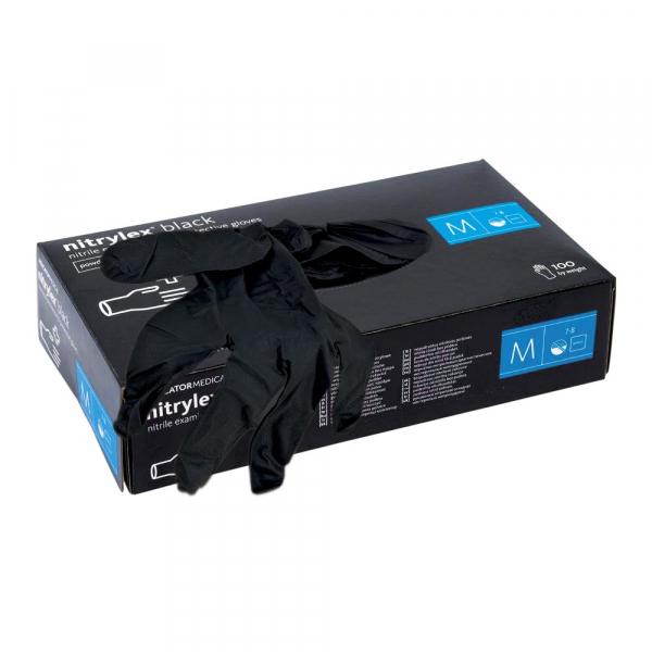 Manusi de examinare din nitrylex, nuanta neagra, cutie 100 bucati, marimea M 2
